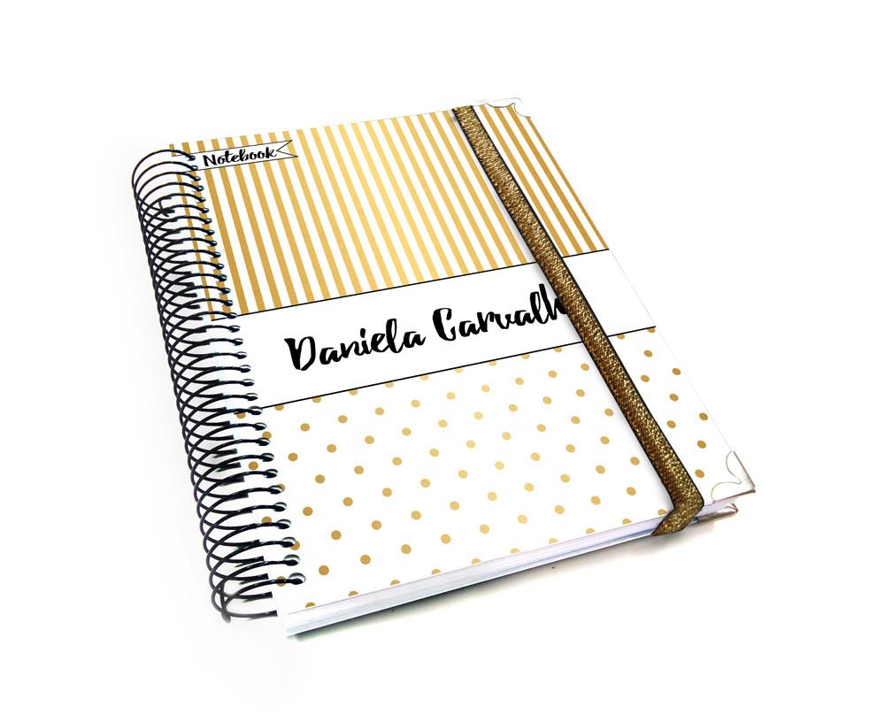 398ad259e03 Notebook básico pautado e liso tema riscas e bolinhas douradas