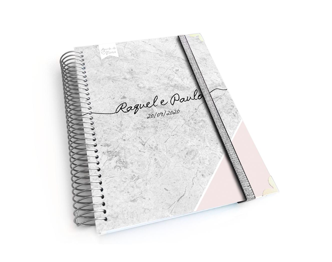 Agenda noiva personalizada ou Diário bolinhas rosa e