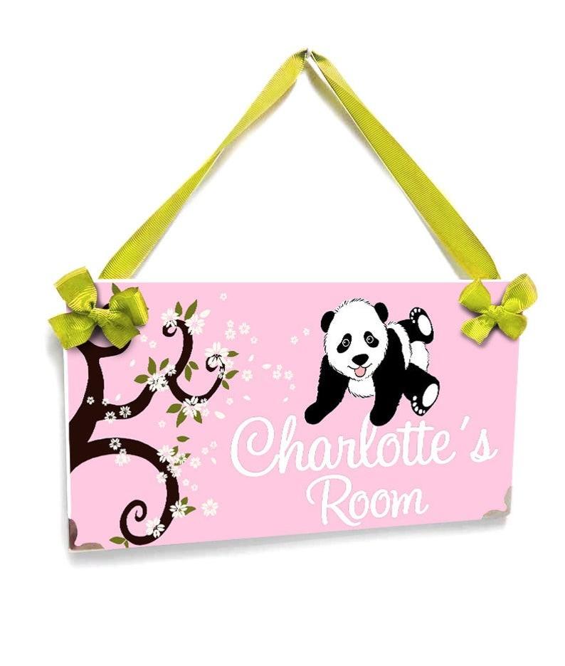 Plaque Porte Panda Fleur Branche Chambre à Thème Décor Clair Rose Signe P45