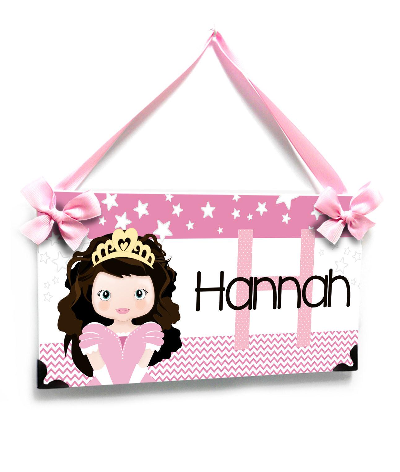 Plaque Porte Personnalisé Sweet Princesse Pépinière Nom Plaque Rose Avec des Etoiles PK40