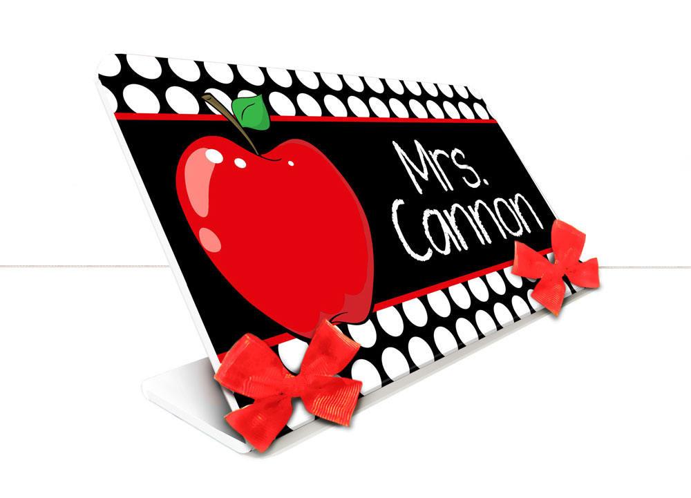 Port-Nóm Secretaire Personnalisable - Thème pomme rouge avec noir et blanc  SEC52