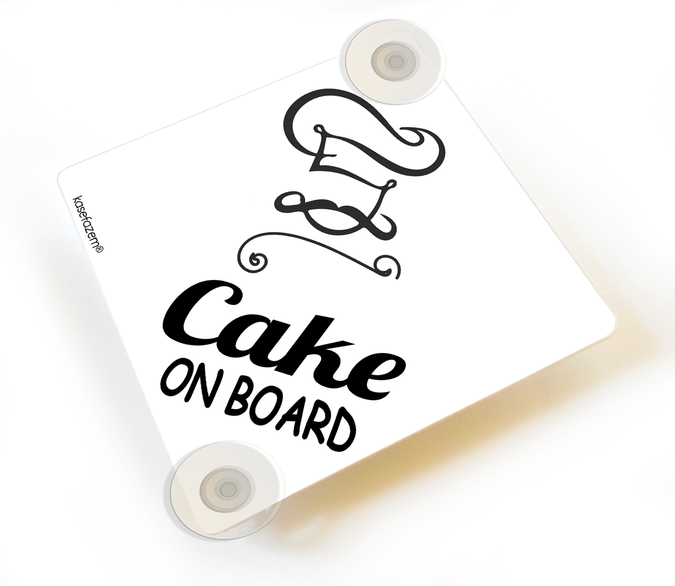 White Cake on Board Car Sign with Suction Cups