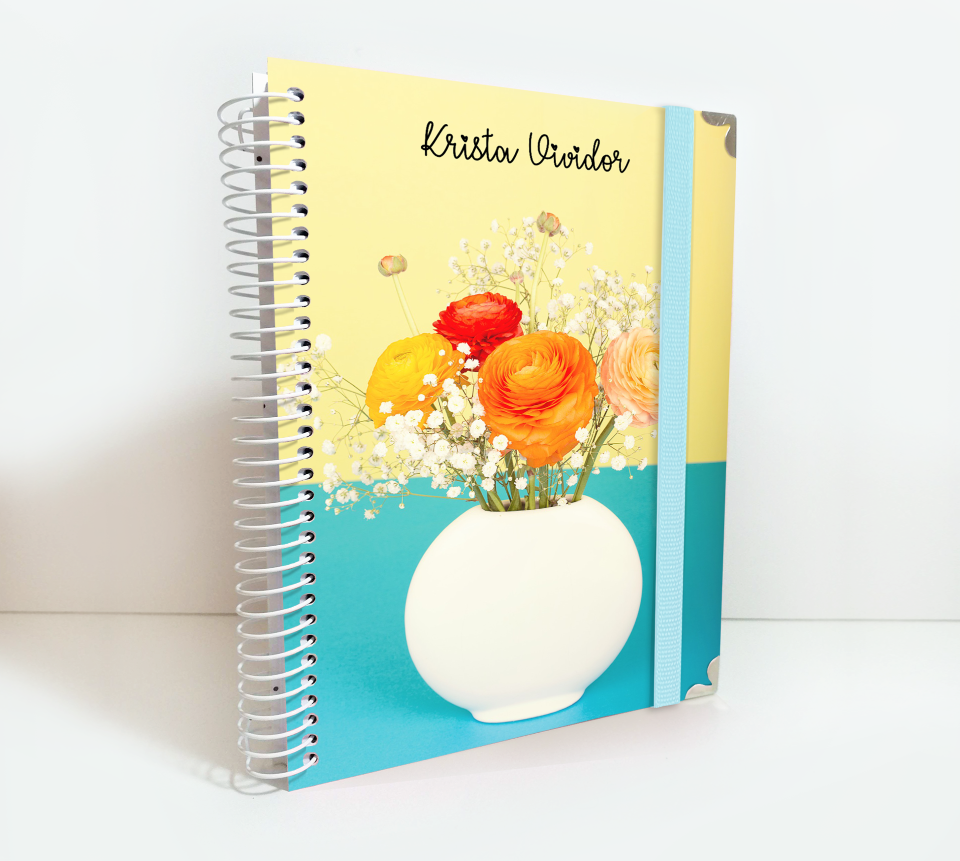 Personalized 2020 Hard Cover Weekly Planner Notebook White Flower Vase Pot