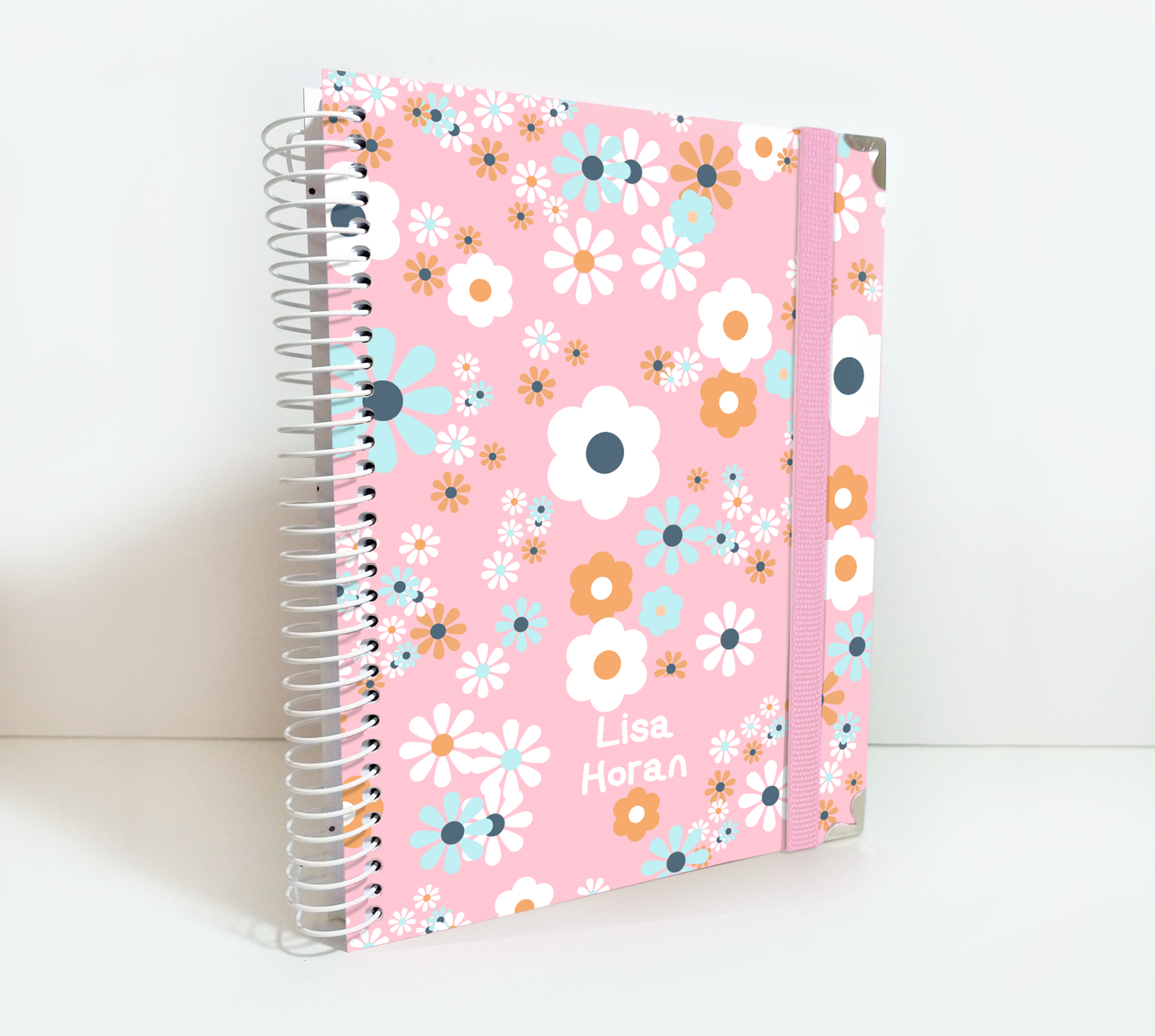 Personalized 2020/21 Weekly Planner Pink Cover with Lovely Daisies Flowers