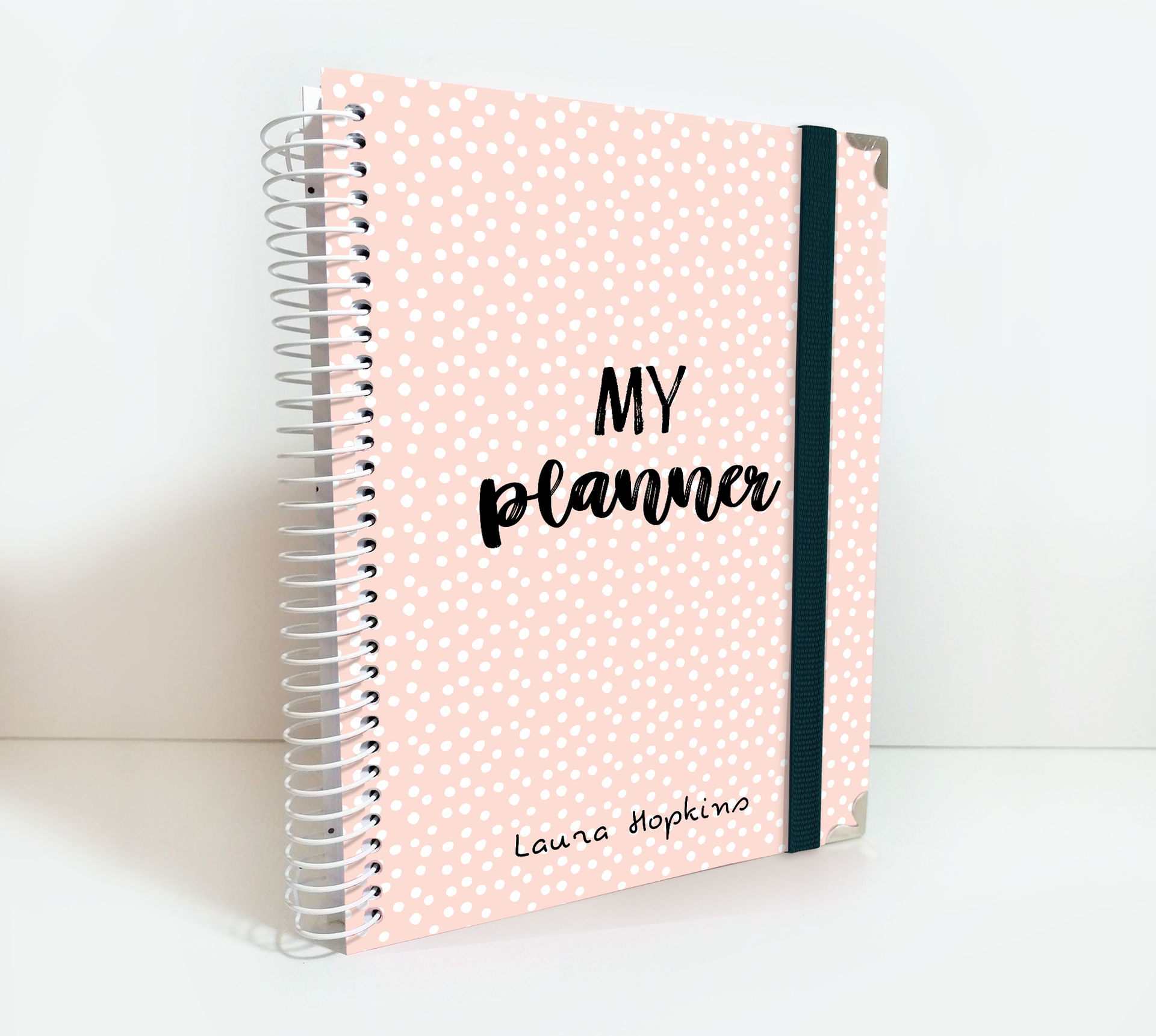 2020-2021 Weekly Planner Customizable with Name Soft Coral Dots Cover Theme