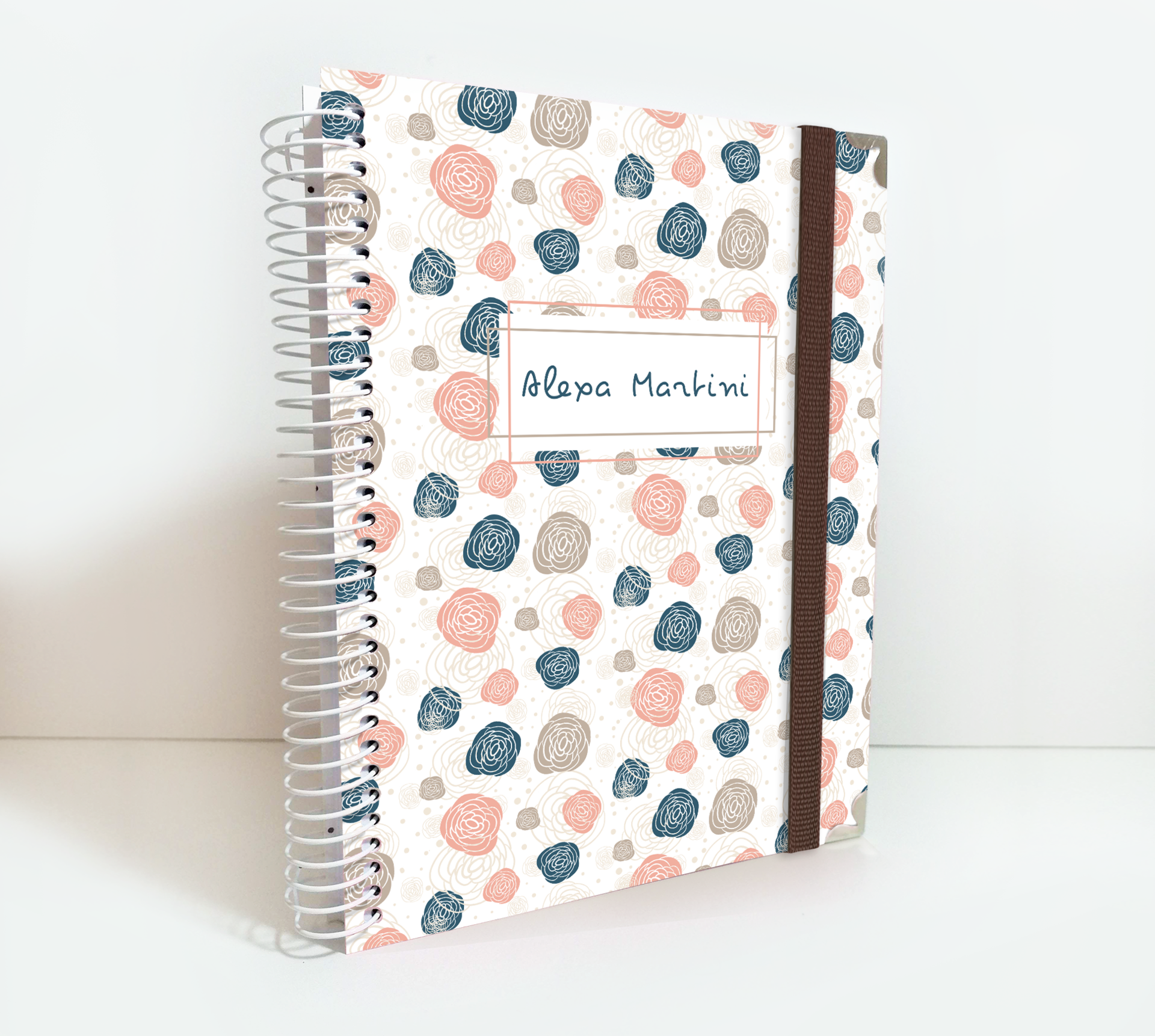 Personalized Weekly Planner for 2020/2021 Seamless Flowers Cover Theme