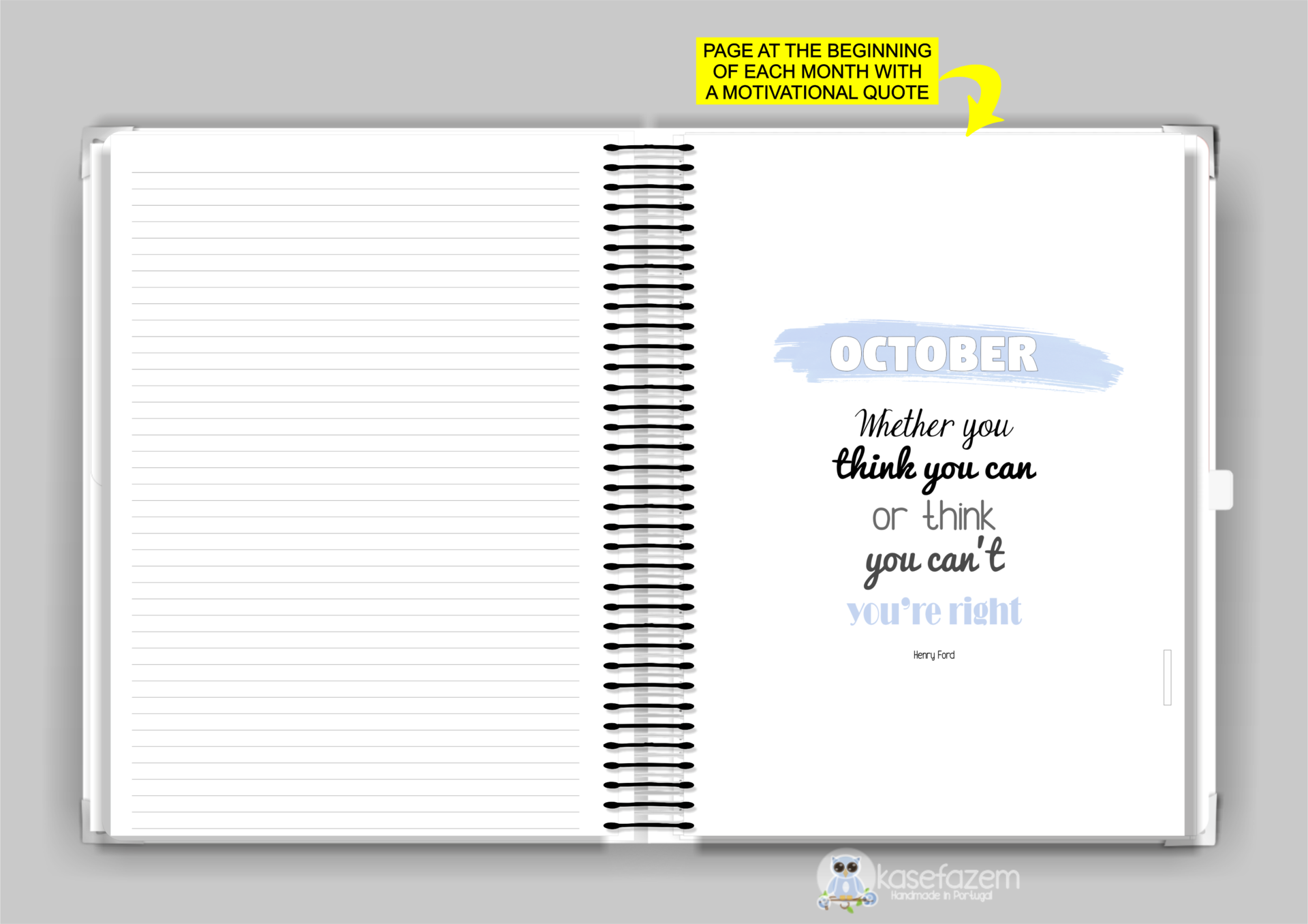 kasefazem personalized planner  motivational quote per month