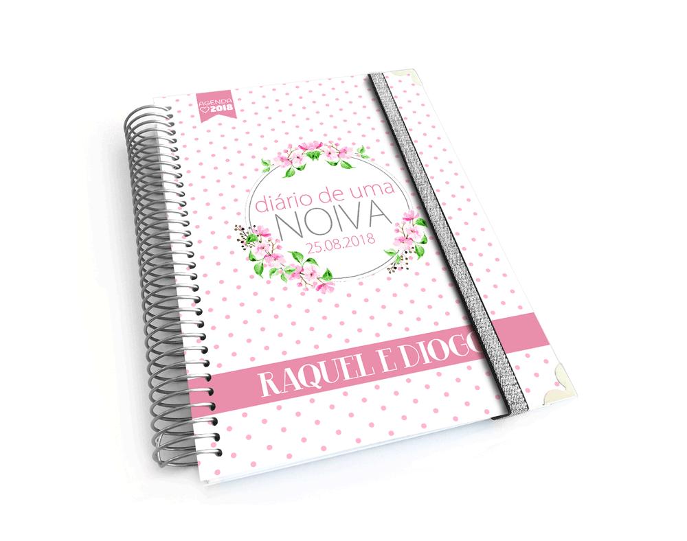 Diário ou Agenda da noiva personalizada padrão rosa rendado