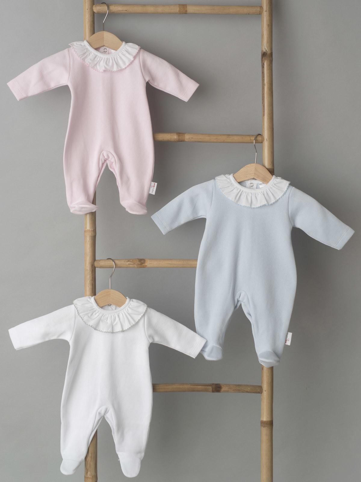 Babygrow azul cardado 100% algodão para bebé menino Gola folho com renda roupa de bebe online moon baby shop