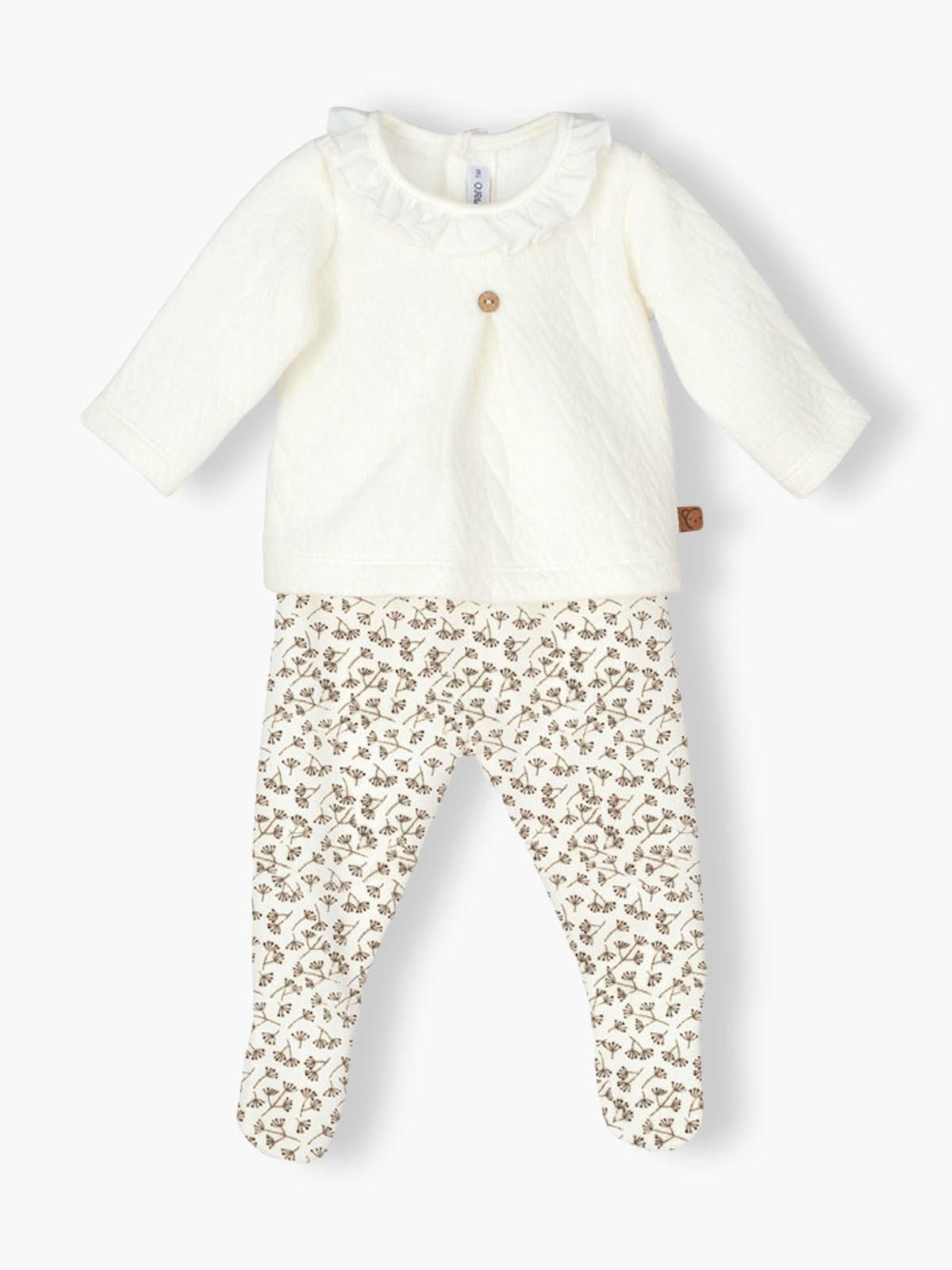 Conjunto de 2 peças pérola composto por camisola e calças em veludo para bebé menina. Camisola grossa e calças cardadas